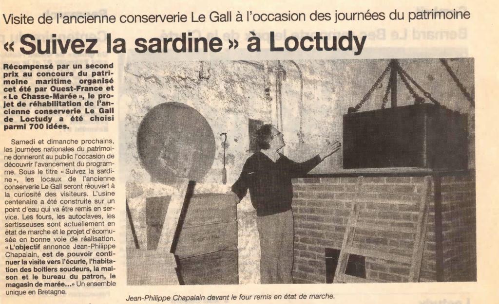 Visites de la conserverie par Chapalain - journal Ouest France - 11 septembre 1996